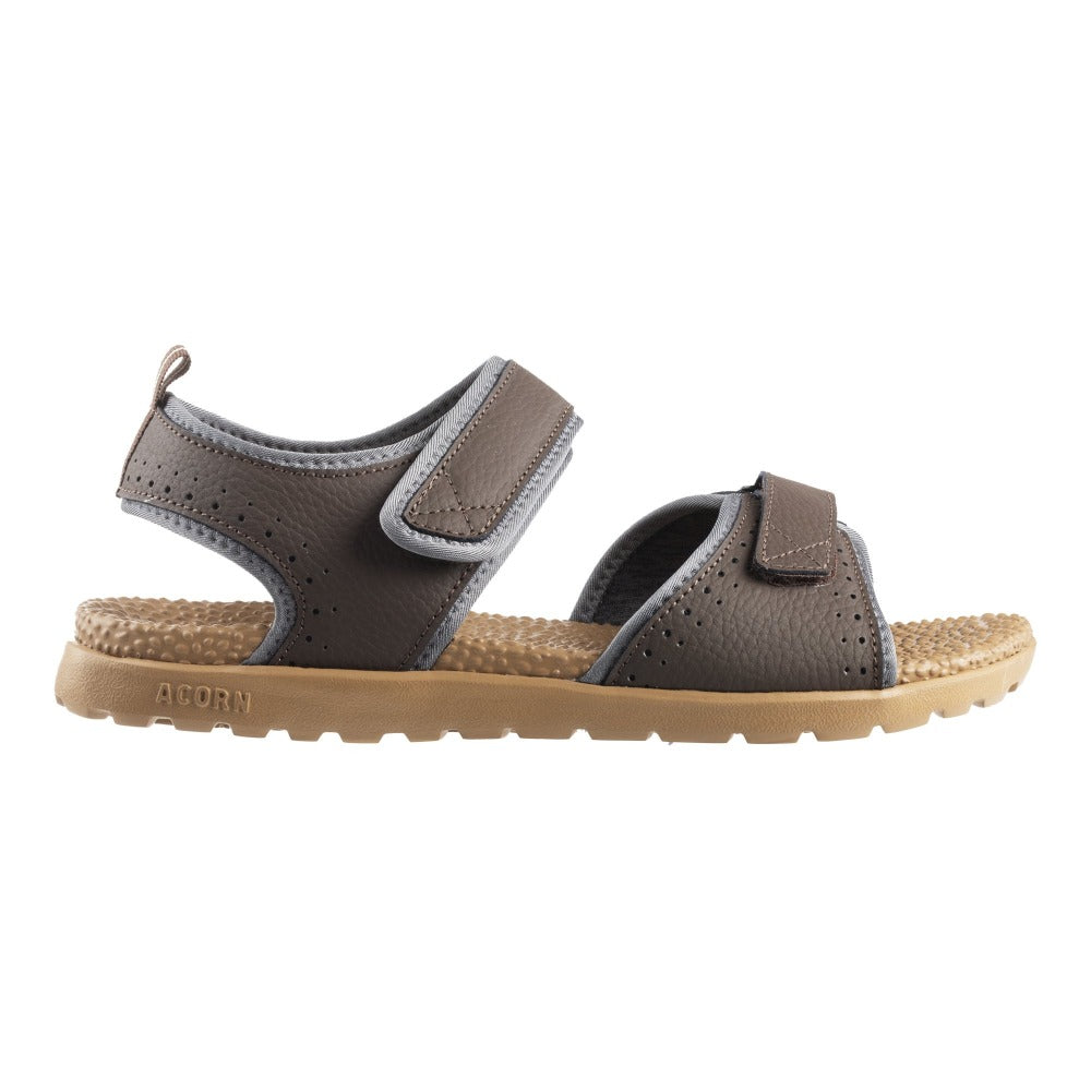 Acorn Men's Grafton Sandal with Adjustable Straps in Walnut Profile View