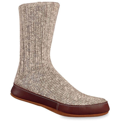 Slipper Sock - Acorn Slipper sock indoor / outdoor. Wool sock with Leather sole