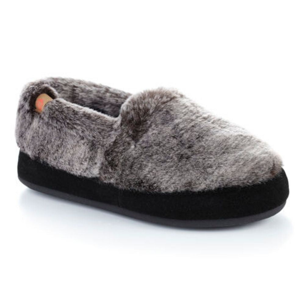 Women's Acorn Moc in Charcoal Faux Fur Side View