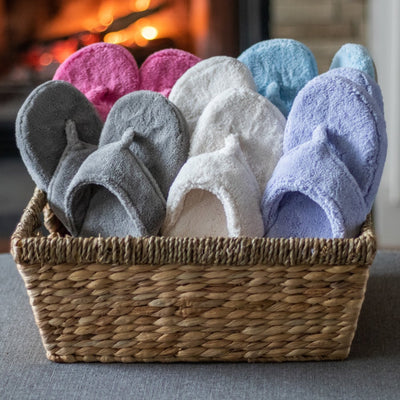 Women's Spa Thong Slippers in Assorted Colorways in a Basket