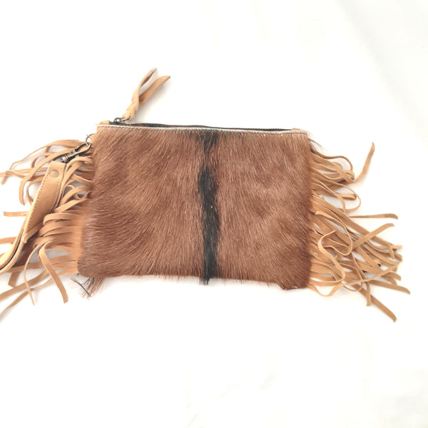 Sophia Fringed Leather Clutch - Brown Tan