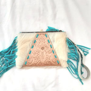 Sophia Fringed Leather Clutch - Cream Mint