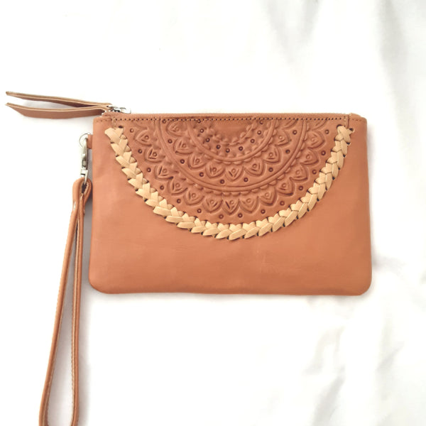 Tan Leather Clutch - Tan Cream