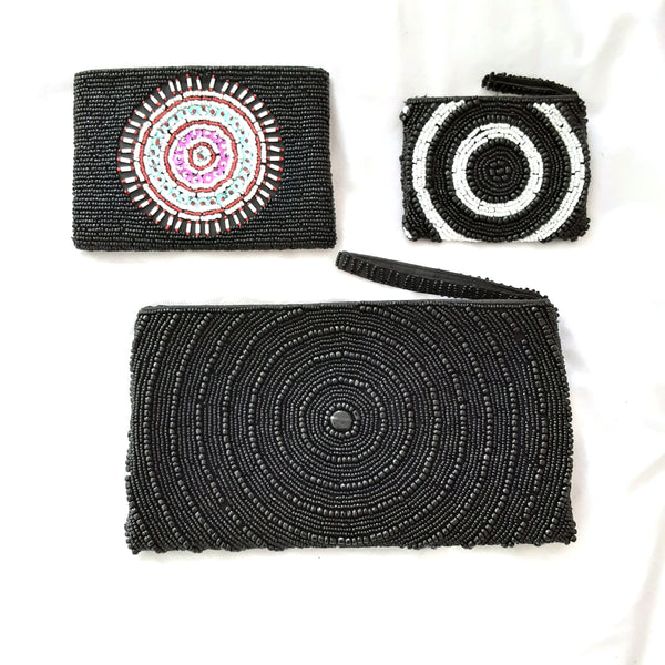 Black Circular Beaded Clutch