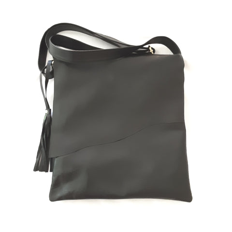 Evelyn Black Flap Over Leather Bag