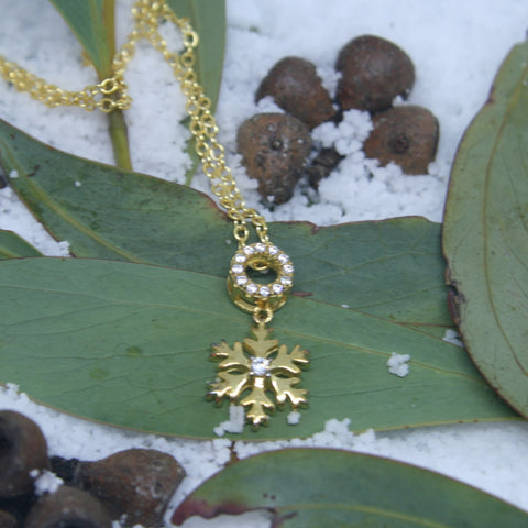 Gold Plated Sterling Silver Snowflake and Circle pendant