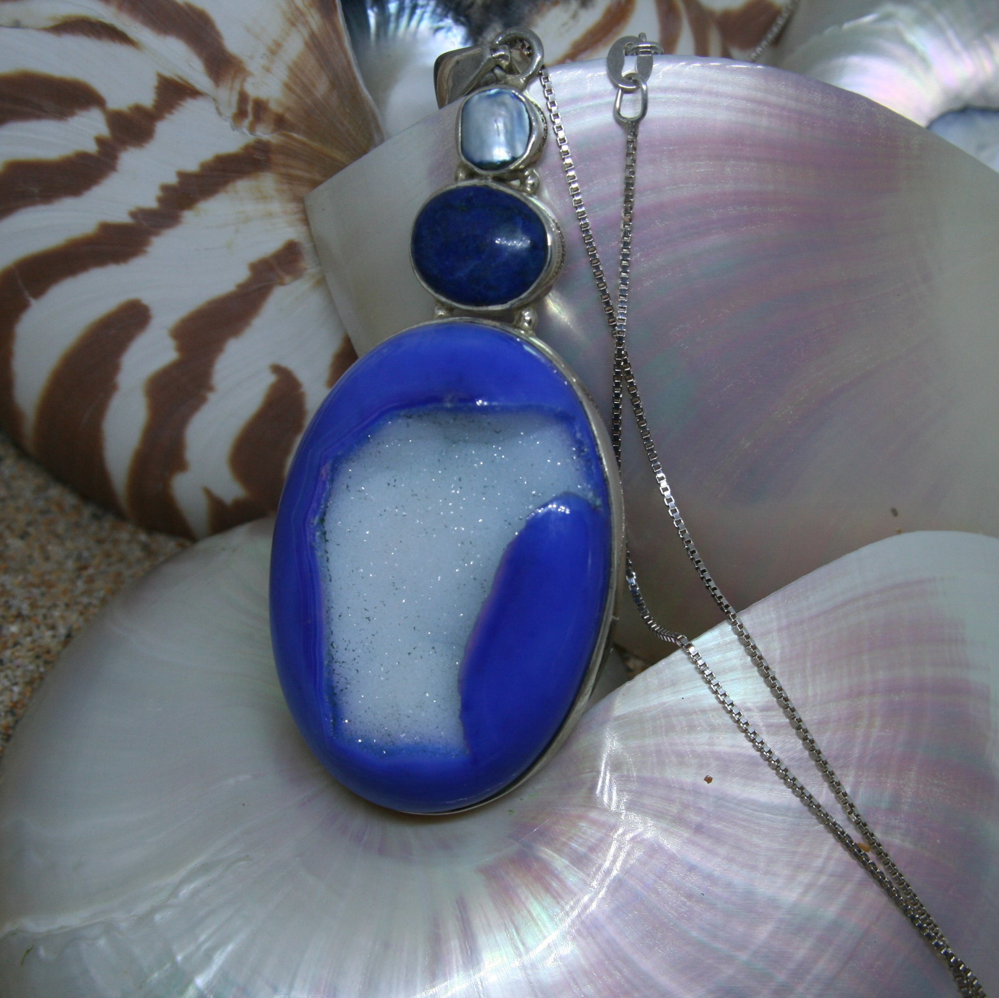 Large Blue Druzy and White Pearl Pendant