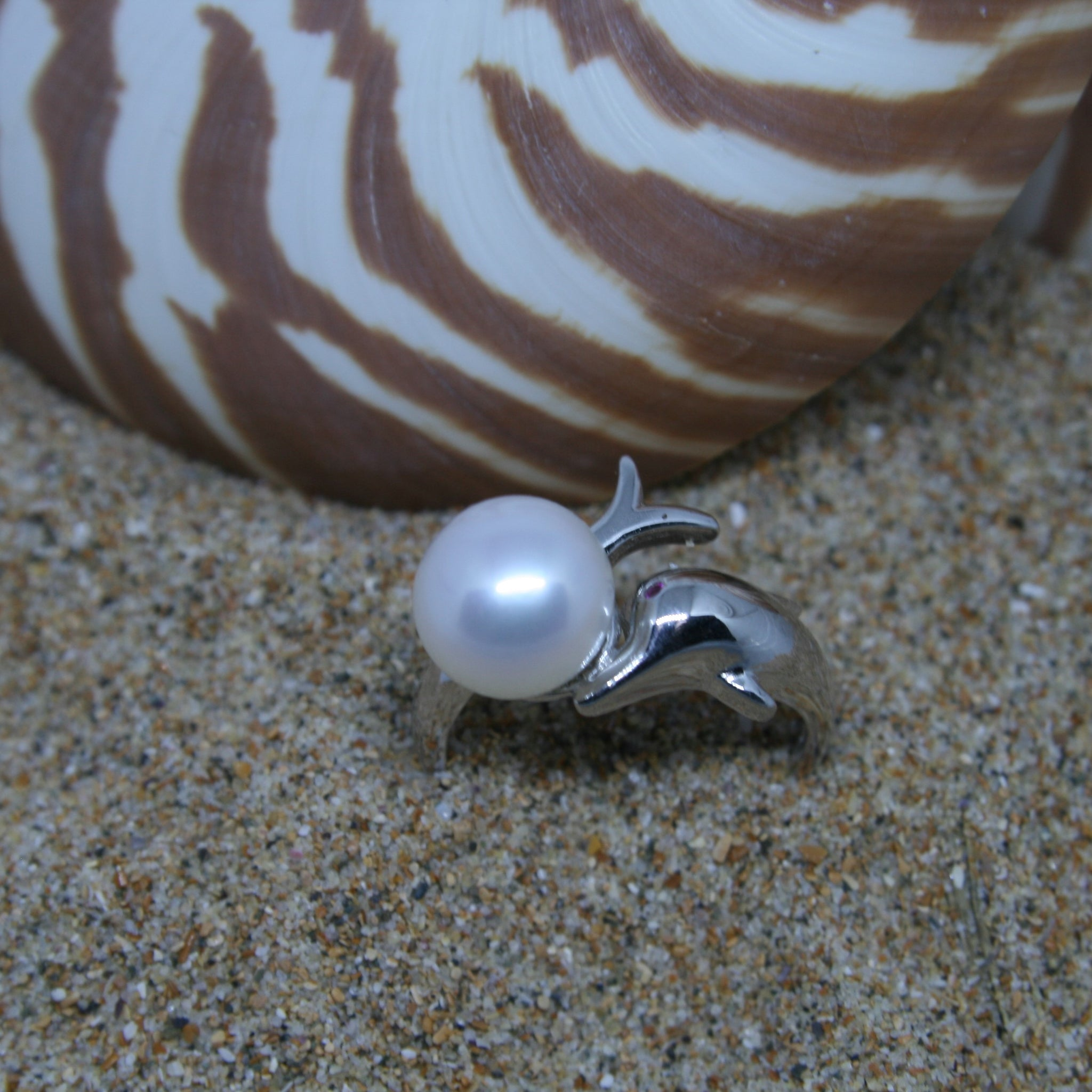 Pearl and Dolphin Sterling Silver Ring