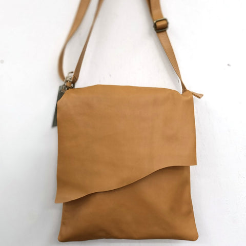 Evelyn Tan Flap Over Leather Bag