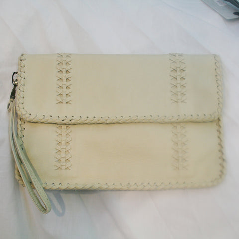 Claire Cream Leather Clutch