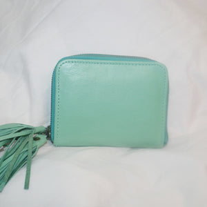 Hazel Mint Green Leather Zip Purse
