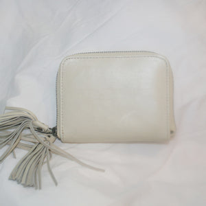 Hazel Cream Leather Zip Purse