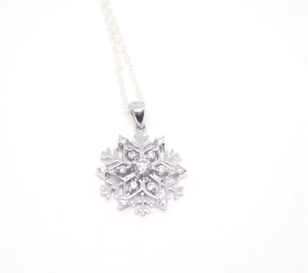 Sterling Silver and CZ Snowflake Pendant