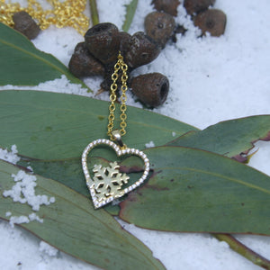 Gold Plated Sterling Silver Snowflake Heart Pendant