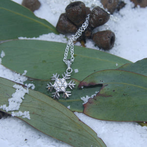 Small Sterling Silver Snowflake Pendant w/- CZ