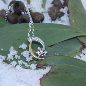 Two Tone Sterling Silver Snowflake Pendant