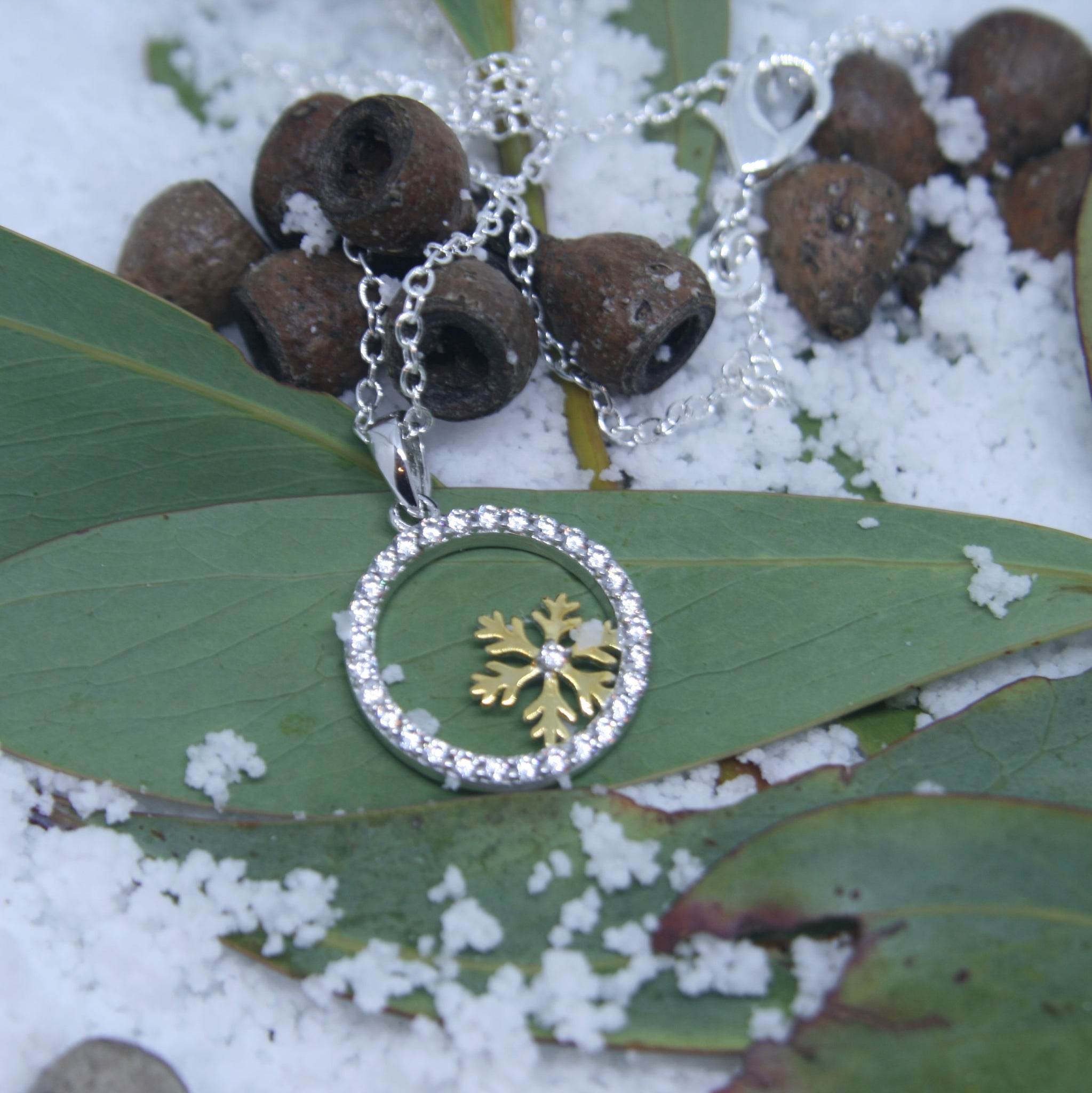 Sterling Silver and Gold Snowflake Pendant