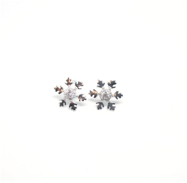 Small Sterling Silver Snowflake Earrings with cubic zircs