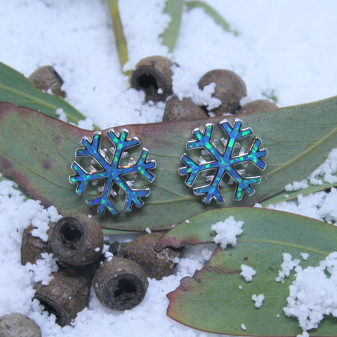 Sterling Silver and Opal Snowflake Earrings
