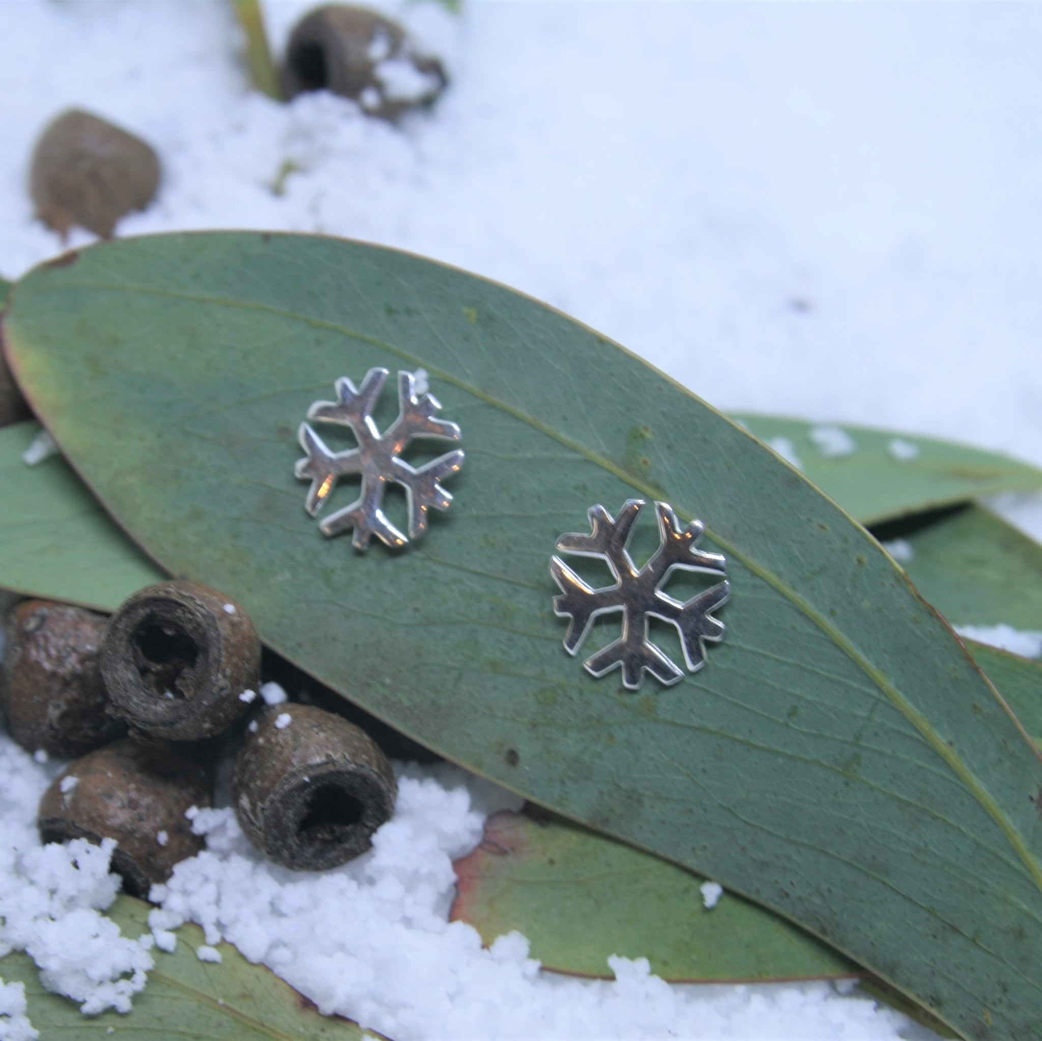 Small Sterling Silver Snowflake Earrings
