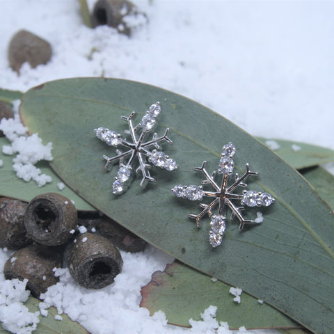 Sterlilng Silver and CZ Snowflake Earrings