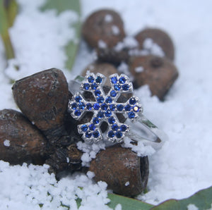 Sterling Silver Blue CZ Snowflake Ring