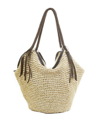 Rattan Straw Beach Bag - Boho Style