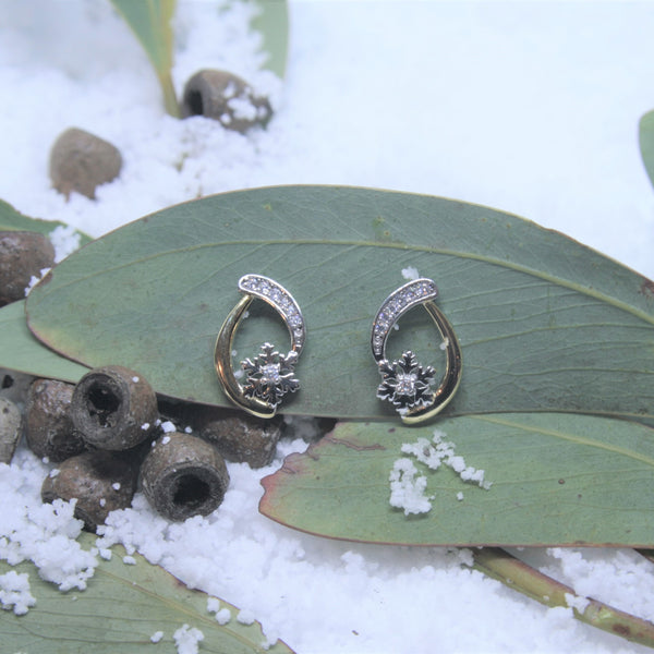 Two Tone Sterling Silver and CZ Snowflake Earrings