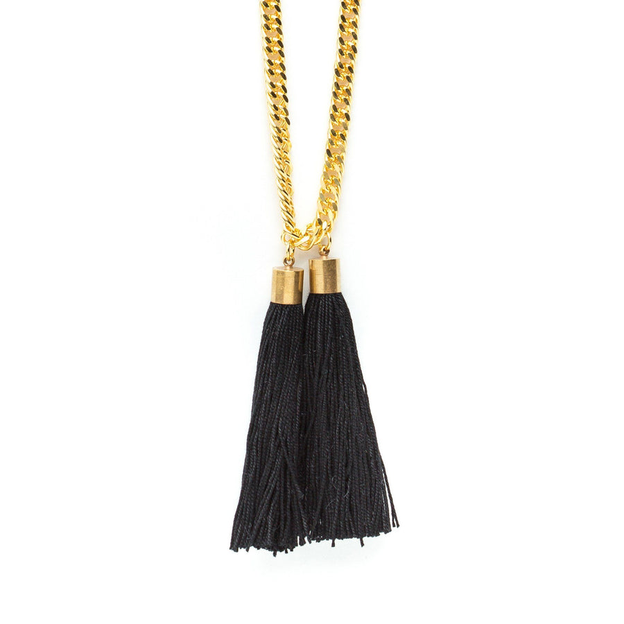 Collier Henri Or Noir Pompons Colliers Monsieur Simone