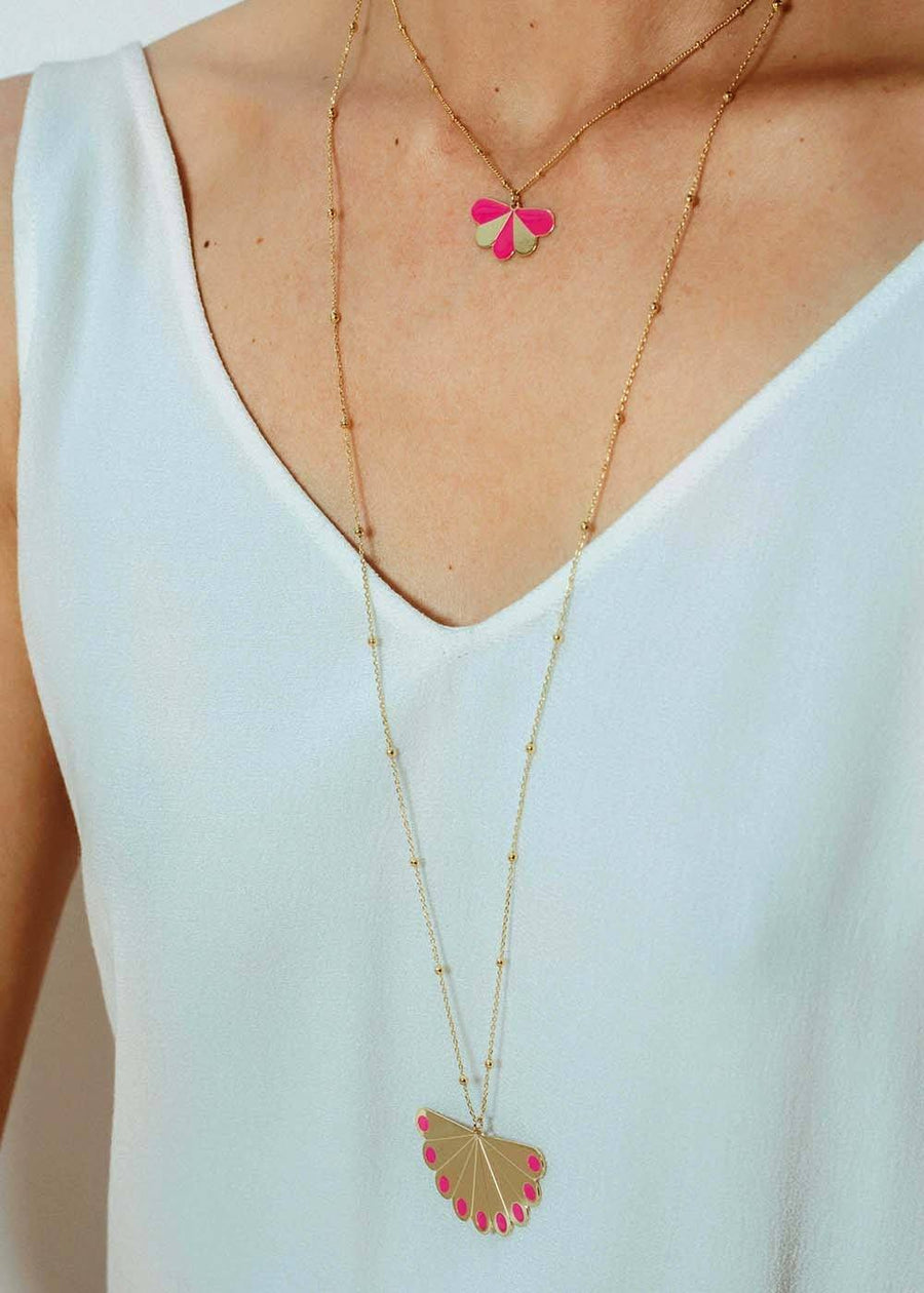Collier Milo Argent Rose Paon Rayures Colliers Monsieur Simone