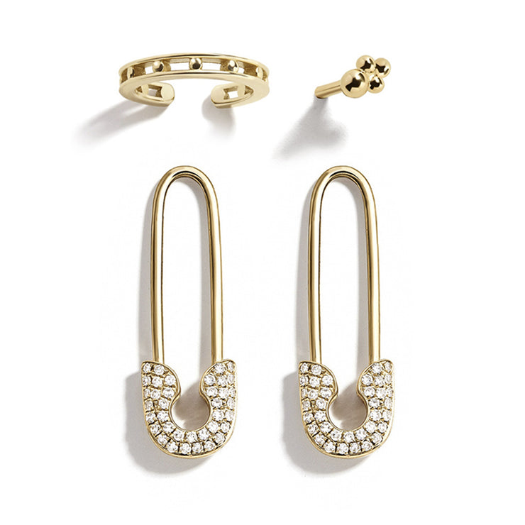 ANARCHY | Clear Crystal Safety Pin Earrings