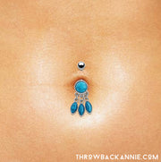 dangle belly bar silver navel bars