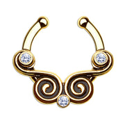 gold fake nose ring vintage body jewelry