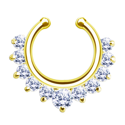 gold fake septum jewelry crystal false nose piercing