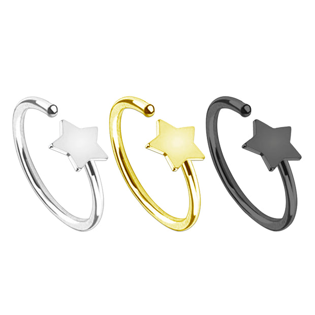 silver stopper nose rings star helix ring black stopper ear piercings gold daith piercing star tragus jewellery star cartilage jewelry star nose studs star nose hoops gold nose hoop