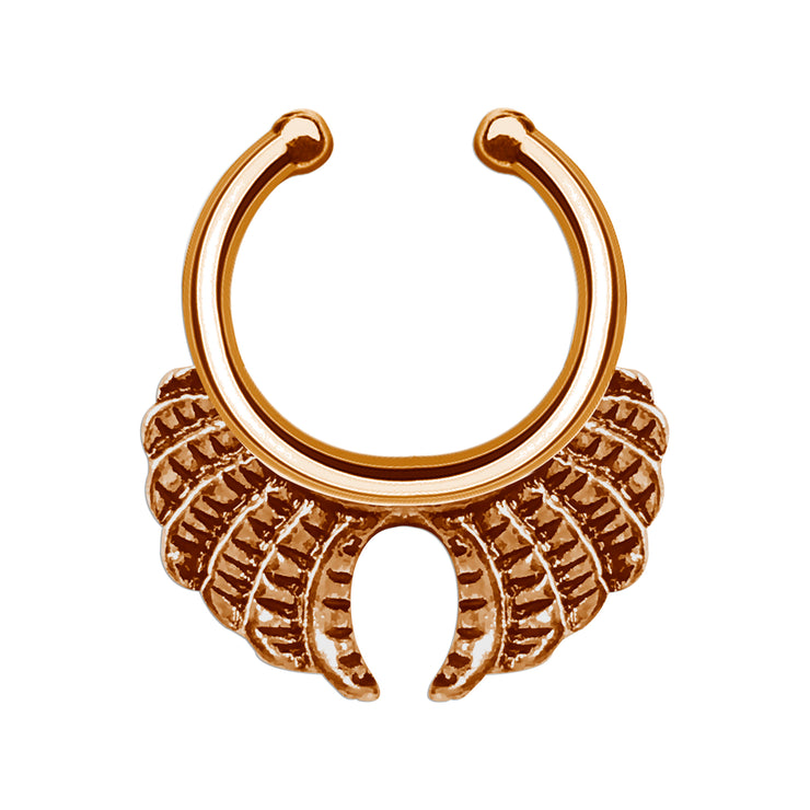 winged septum ring fake rose gold nose piercing