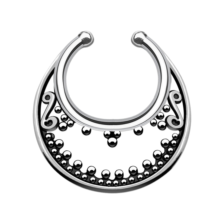 vintage faux nose ring silver septum piercing