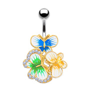butterfly belly bar fancy belly button rings crystal belly jewellery