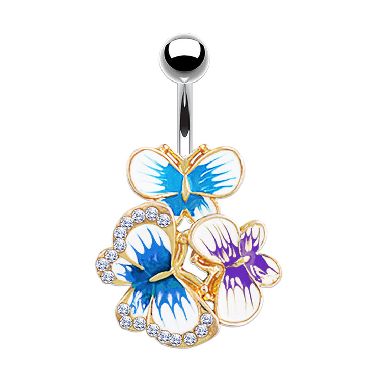 gold belly bars silver belly button piercing butterfly navel ring