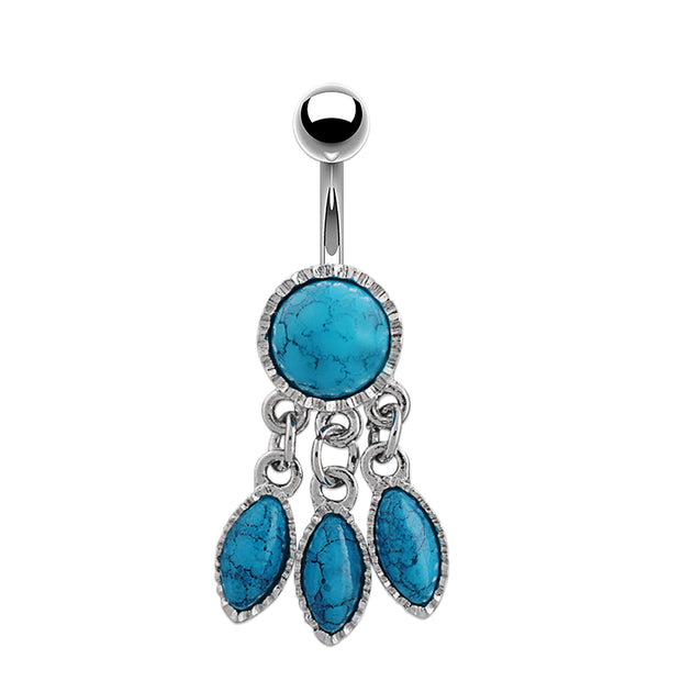 dangle navel piercing blue belly bars