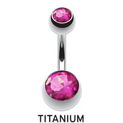 pink navel ring titanium belly button jewelry