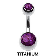 plum belly bar purple belly button piercing