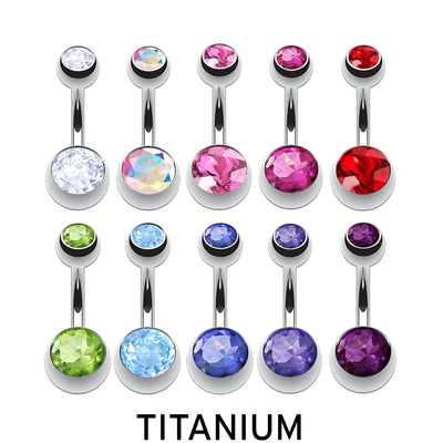 titanium navel ring silver belly bar
