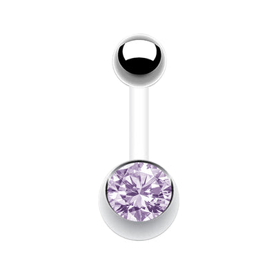 lilac belly barbell purple belly bars purple navel jewellery