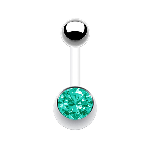 green belly bar turquoise belly barbell crystal curved barbells