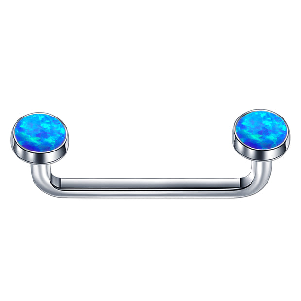titanium staple piercing blue opal staple piercings