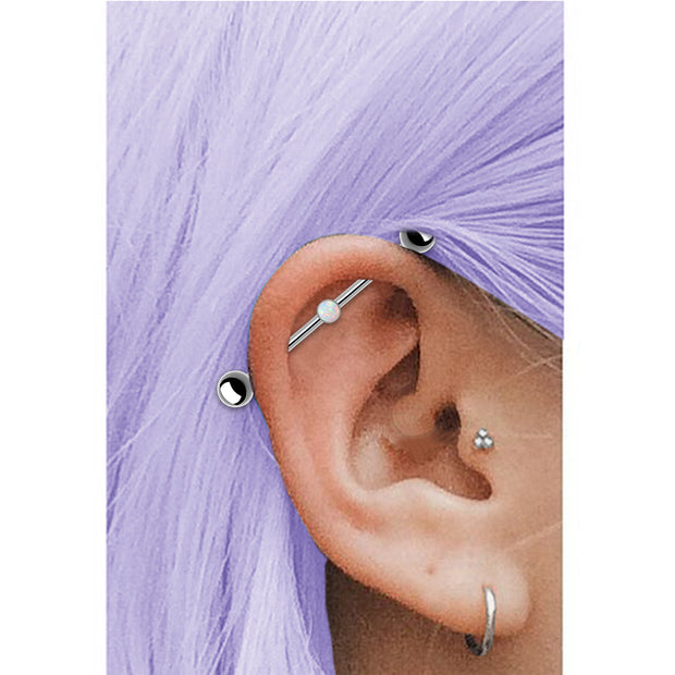 opal scaffold piercing opal industrial bar