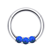Blue opal hinge ring opal cartilage rings opal septum piercings