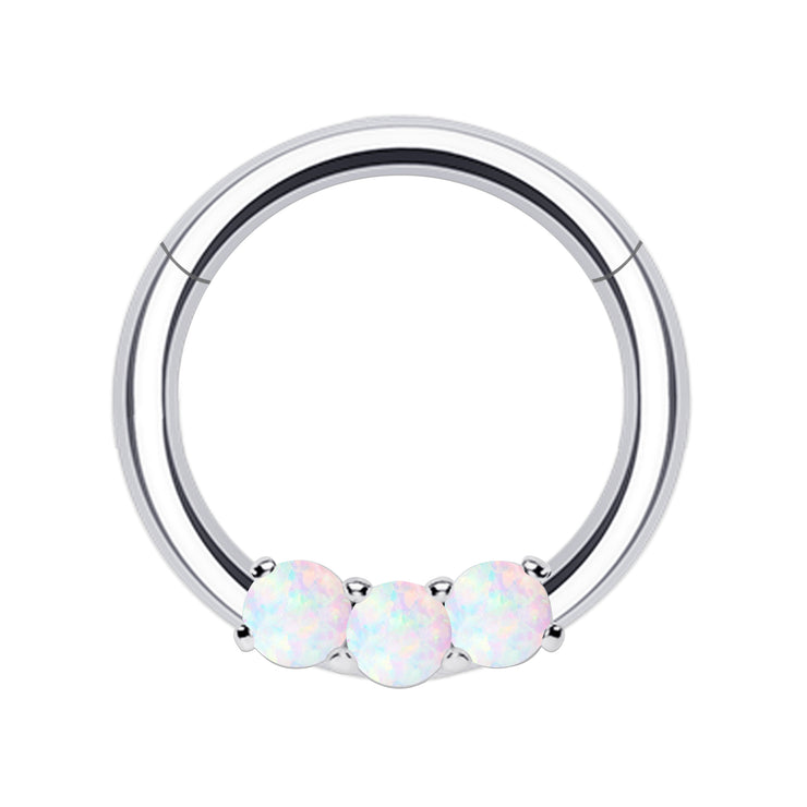 white opal septum clicker opal helix rings opal cartilage piercing
