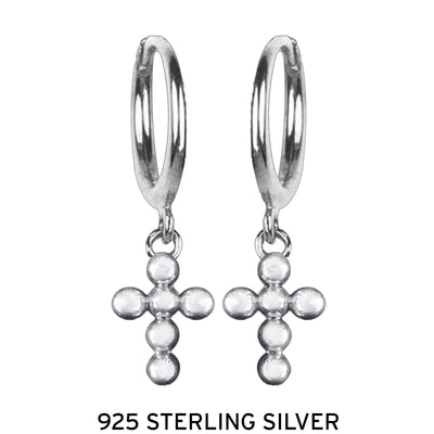 HOLY CROSS | 925 Sterling Silver Dangle Earrings